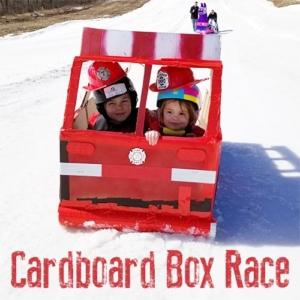 Cardboard Box Sled Race